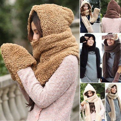 Winter Warm Lady 3pcs Fluffy Knitted Gloves Hooded Scarf Earflap Hat Scarf Shawl