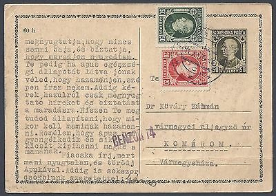 Slovenia 1939 Cencored Uprated Postal Card To Varmegyemaza