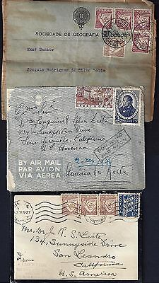 PORTUGAL 1930's 40's COLL OF 6 ITEMS 5 COVER +PARCEL FRONT TWO ARE REGISTERED &