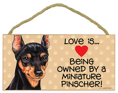 Love is Being Owned By a Miniature Pinscher Dog 5 x 10 Wood SIGN Plaque USA Made