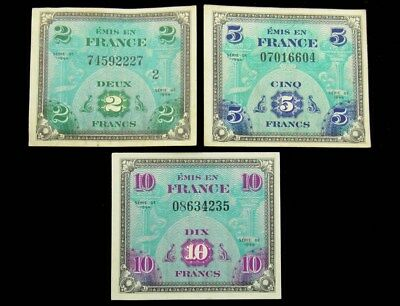 Three 1944 WWII Allied Military Currency AMC - 2, 5, 10 Francs - XF or Better