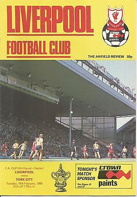 1985/86 FA Cup replay Liverpool v York City