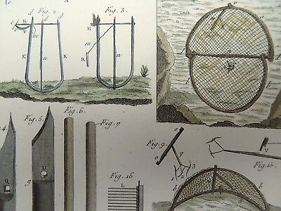 1793 Panckoucke HUNTING BIRDS DEVICES hand colored FOLIO antique original