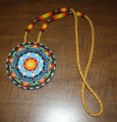 Native American Beaded Necklace Blue New Tight Beading Free Shipping