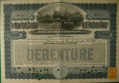 Stock Cert.: NY Central & Hudson River RR Co, 1913, W/NY Revenue (S11148)
