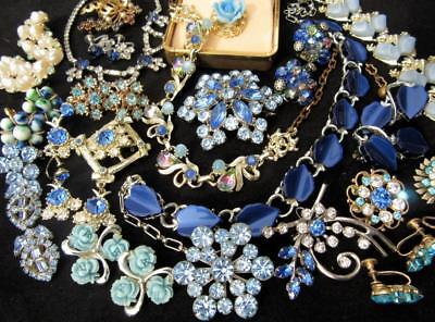 Lot Of Vintage Jewelry Blue Rhinestones Thermoset Pins Earrings Necklaces Estate