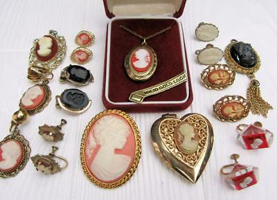 Vintage Lot Of Cameo Jewelry Earrings Locket Pendant Black Glass Estate Jewelry