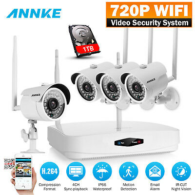 SANNCE Wireless 4CH 1080P HDMI NVR 4x CCTV IR Outdoor Security Camera System 1TB