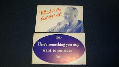1930's Gulf Oil  NOS Gulf Lube Advertising Cards LOT OF 2 Different