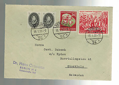1952 Berlin East Germany DDR Cover to Sweden Mao Tse Tung # 83 86