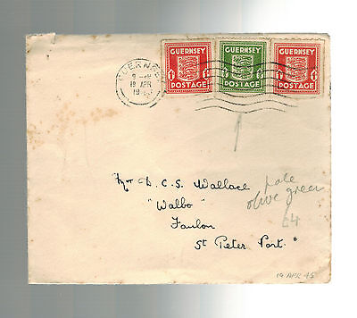 1945 Guernsey Channel Islands Occupation Cover to St Peter Port