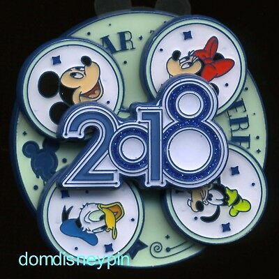 Disney Pin WDW *The Year To Be Here* 2018 Year Spinner w/ Fab 4 (Mickey & Pals)!