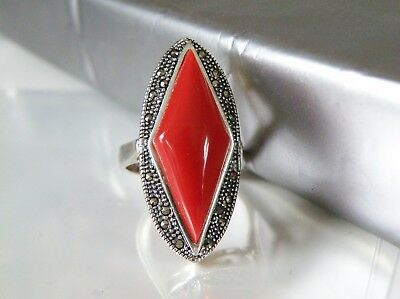 Antique Art Deco Style Sterling Silver TALL Red Coral Elongated Knuckle Ring 8