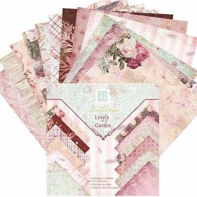 "24pcs 6"" x 6"" Romantic Flowers Vintage Album Scrapbook Cards Background Paper"