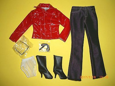 Tonner Emme Doll EDGY OUTFIT Red Jacket Jeans Black Boots Sun Glasses Panties