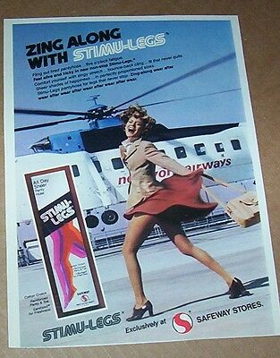 1977 print ad page -  Safeway Grocery Pantyhose SEXY GIRL helicopter vintage AD