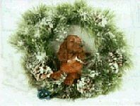 Irish Setter Puppy Christmas Cards Pack of 10 Wreath Puppy