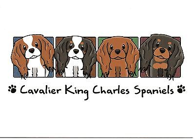 Four Colors Cavalier King Charles Spaniel blank note card
