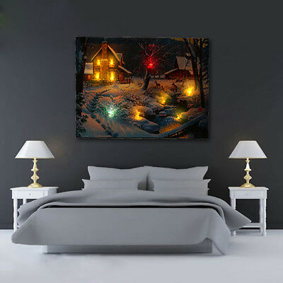 US LED Light-up Snow Deer Log Cabin Canvas Art Picture Print Home Wall Decor DIY