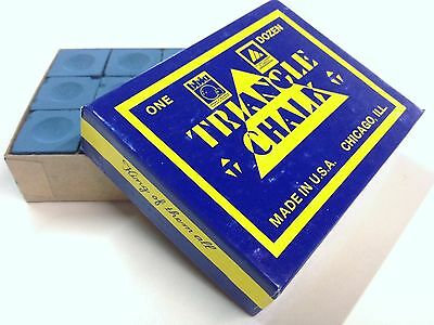 Quality TRIANGLE Pool Snooker Billiard Cue Tip Table Chalk Box BLUE in Colour