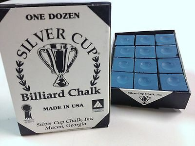 Quality USA Silver Cup Pool Snooker Billiard Cue Tip Table Chalk BLUE 12 Blocks