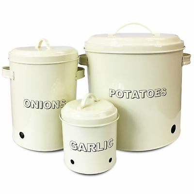 3Pc Canister Set Stainless Steel Potatoe Garlic Onion Jar Lid Canisters Storage