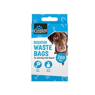 400 x Doggy Bags, Scented Dog Waste Bag, Poo Disposal, Tie Handles, Doggie,Black