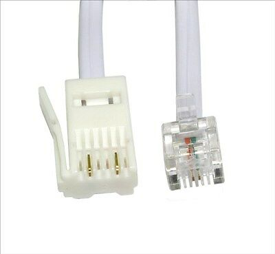 2m RJ11 to BT Modem Cable Lead Telephone Phone Plug BT Socket 2 PIN Crossover