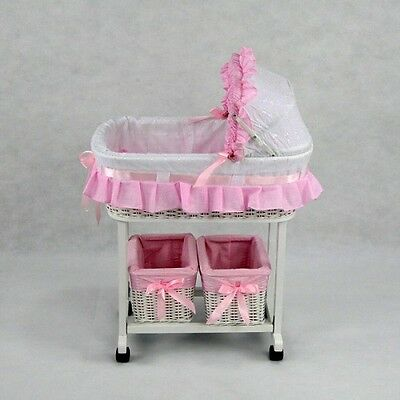 New Dolls Julia Classic Rocker Cradle White Cane Doll Bed Girls