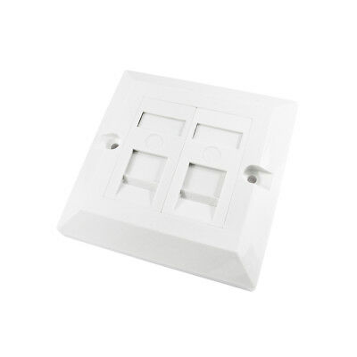 RJ45 Face Plate Wall Socket Cat5e Ethernet Single Gang 2 Port with Keystones