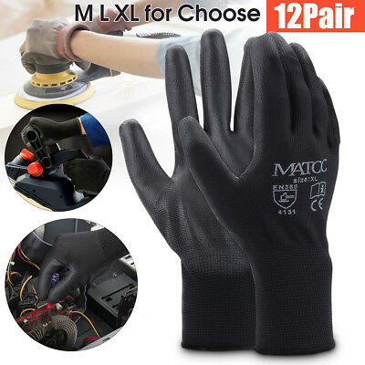 12 Pairs PU Nitrile Coated Safety Work Gloves Garden Builders Grip Size M/L/XL