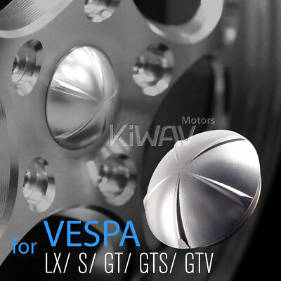 VAWiK CNC Aluminum Alloy6061 Wheel Center Cap silver for Vespa LX S GT GTS GTV