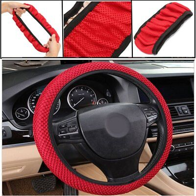 Universal 38CM Car Steering Wheel Cover Anti Slip Summer Cool Elastic Fabric Red