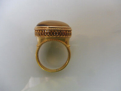 VERY NICE RING__925 Silver Plated __ WITH TIGER EYE __ MILOR ITALY __