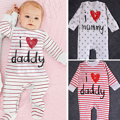 Baby Boys Girls I Love Mommy Daddy Romper Bodysuit Outfit Clothing Set 0-9Months