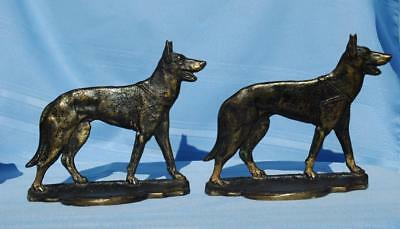 Vintage Pair German Shepherd Police Dog Bookends Marked Solid Brass With Logo