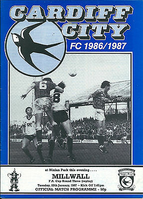 Cardiff City v Millwall (FA Cup third round replay) 1986-87