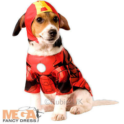 Iron Man Pet Dog Fancy Dress Super Hero Marvel Comicbook Animal Costume Outfit
