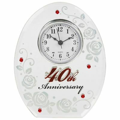 Shudehill Giftware Mirrored Glass 40th Anniversary Mantel Clock