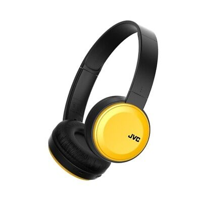 JVC Foldable Bluetooth On Ear Headphones Yellow Wireless Deep Bass Mic Remote