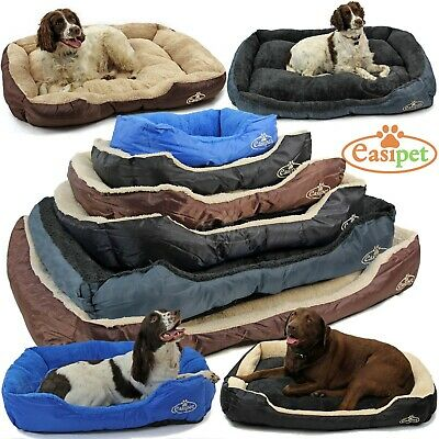 Dog Bed Pet Cat Puppy Faux Fur Fleece Washable Deluxe Cushion S M L XL Easipet