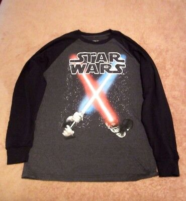 Boy's Youth Star Wars Heather Gray w/Black Long Sleeve Graphic T- Shirt Size XL