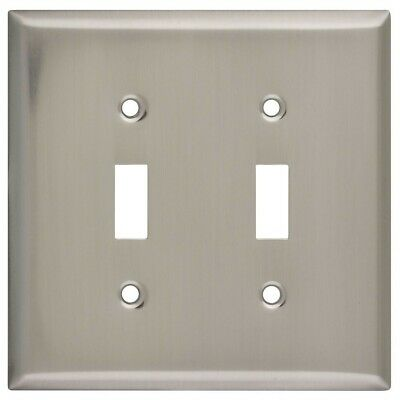 Double Switch Wall Plate Satin Nickel Plated Steel