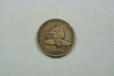 1857 Flying Eagle One Cent, Penny, Fine Details - C3911
