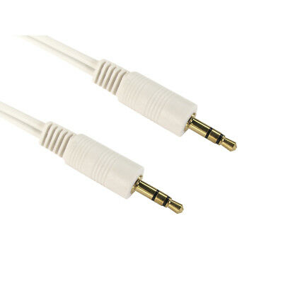 3m Long 3.5mm Jack to Jack Aux Cable STEREO Audio Lead PC Car GOLD - WHITE