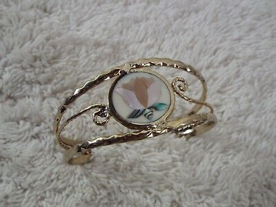 Goldtone Abalone Mother of Pearl MOP  Flower Inlay Shell Cuff Bracelet (C62)