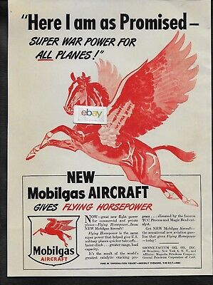 Mobil Socony-Vacuum Oil Co 1946 Mobilgas Aircraft Flying Horsepower War Power Ad