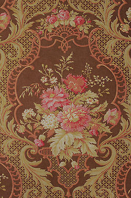 Antique French Rococo floral ~ brown  ~ lovely large scale printed cotton c1890
