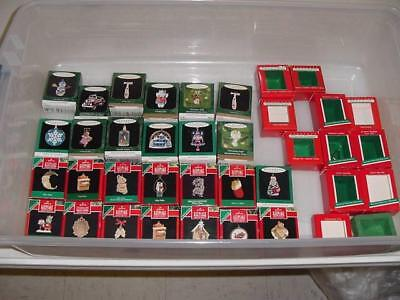 37 EMPTY BOXES for HALLMARK MINIATURE CHRISTMAS ORNAMENTS DEALER LOT BOXES ONLY