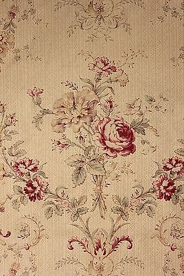 Biedermeier look Antique French printed fabric material c 1900 cotton old aged